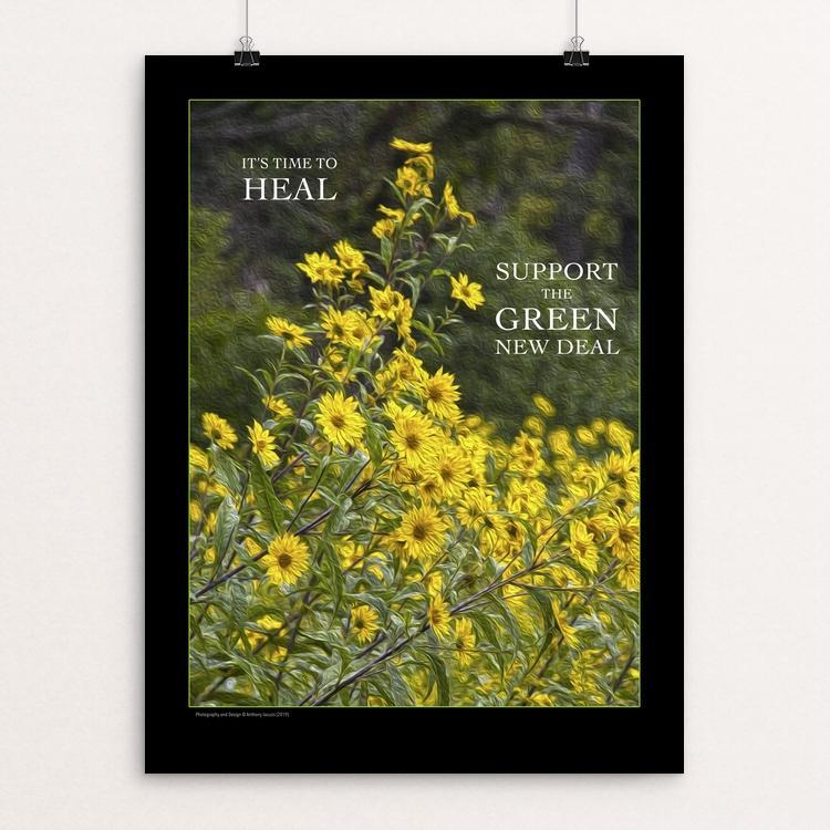 "It's Time to Heal by Anthony Iacuzzi 18"" by 24"" Print / Unframed Print Green New Deal"