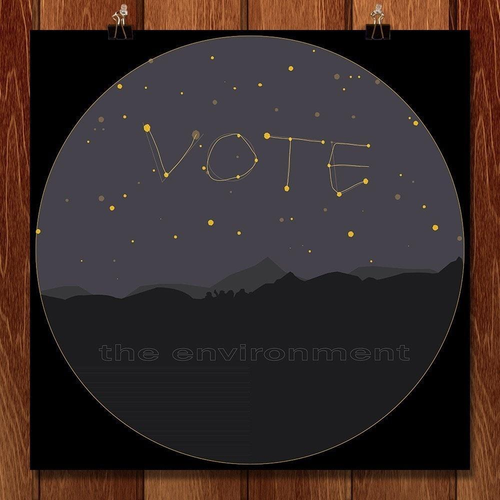 "It's Written In the Stars! by Em 12"" by 12"" Print / Unframed Print Vote the Environment"