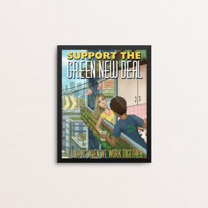 "It Works When We Work Together by Stephanie Crane 8"" by 10"" Print / Framed Print Green New Deal"