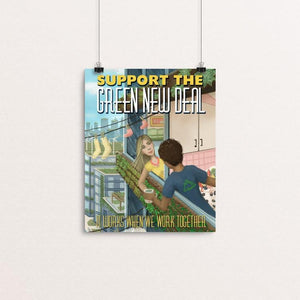 "It Works When We Work Together by Stephanie Crane 8"" by 10"" Print / Unframed Print Green New Deal"