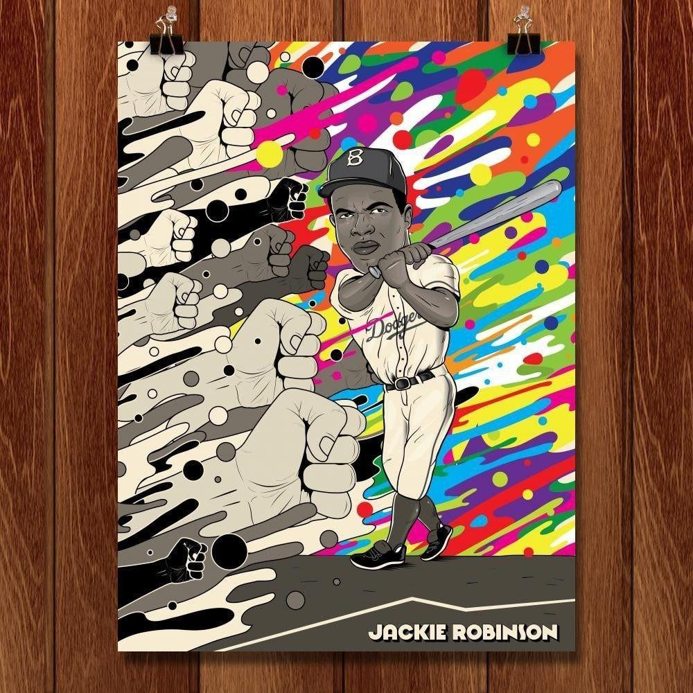 "Jackie Robinson by Roberlan Borges 18"" by 24"" Print / Unframed Print Transcend - Moments in Sports that Changed the Game"