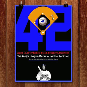 "Jackie Robinson's MLB Debut by Bob Rubin 18"" by 24"" Print / Unframed Print Transcend - Moments in Sports that Changed the Game"