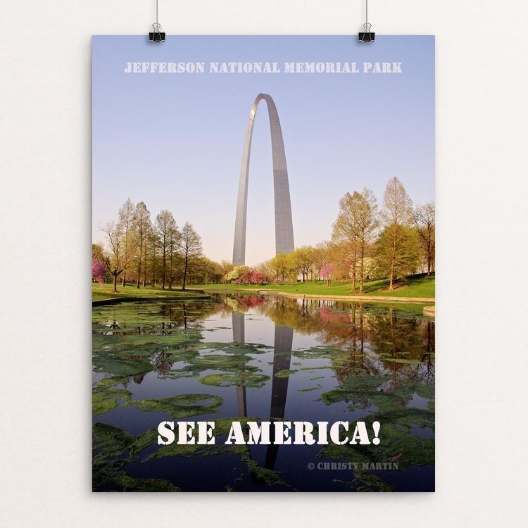 "Jefferson National Expansion Memorial by Christy Martin 12"" by 16"" Print / Unframed Print See America"
