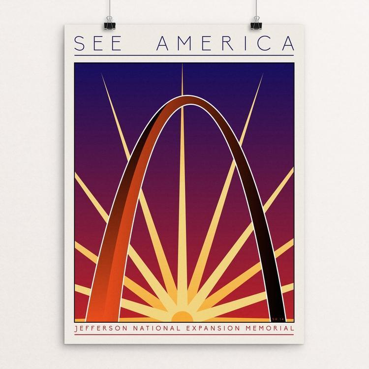 "Jefferson National Expansion Memorial by Shane Henderson 12"" by 16"" Print / Unframed Print See America"