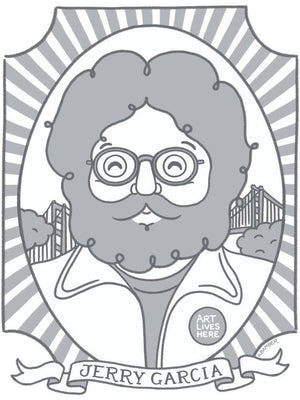 "Jerry Garcia by Adrianna Bamber 12"" by 16"" Print / Unframed Print Art Lives Here"