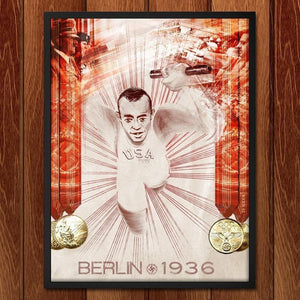 "Jesse Owens, Berlin, August 1936 by Nikkolas Smith 18"" by 24"" Print / Framed Print Transcend - Moments in Sports that Changed the Game"