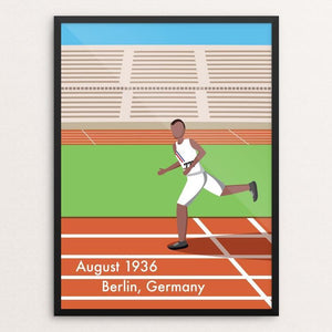"Jesse Owens by Daniel Cataloni 18"" by 24"" Print / Framed Print Transcend - Moment in Sports that Changed the Game"