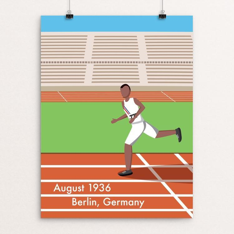 "Jesse Owens by Daniel Cataloni 18"" by 24"" Print / Unframed Print Transcend - Moment in Sports that Changed the Game"