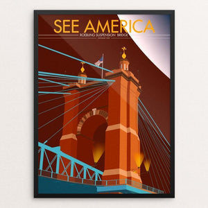 "John A. Roebling Suspension Bridge by Paul Alcantara Arias 12"" by 16"" Print / Framed Print See America"