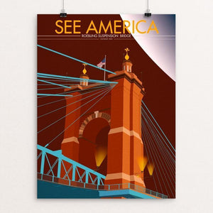 "John A. Roebling Suspension Bridge by Paul Alcantara Arias 12"" by 16"" Print / Unframed Print See America"