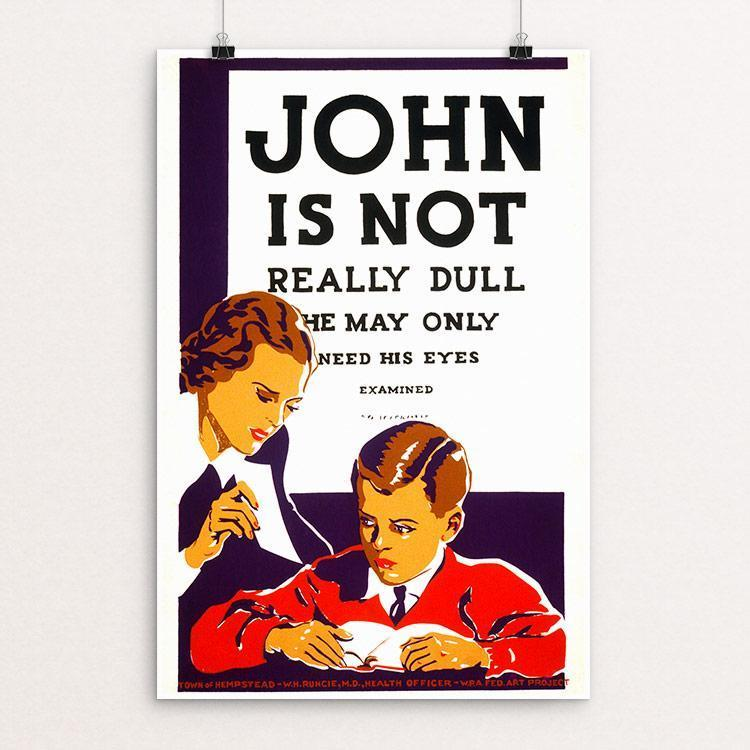 "John is not really dull - he may only need his eyes examined 12"" by 18"" Print / Unframed Print WPA Federal Art Project"