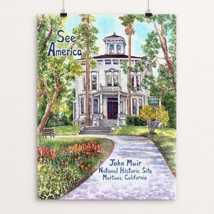 "John Muir National Historic Site by Elizabeth Kennen 12"" by 16"" Print / Unframed Print See America"