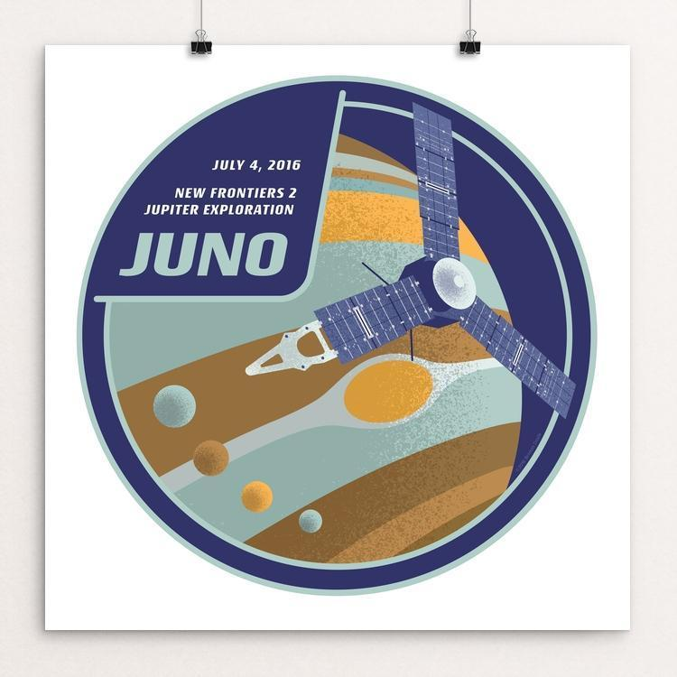 "Juno: New Frontiers 2, Mission to Jupiter by Brixton Doyle 12"" by 12"" Print / Unframed Print Space Horizons"