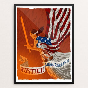 "Justice by Brixton Doyle 12"" by 16"" Print / Framed Print What Makes America Great"