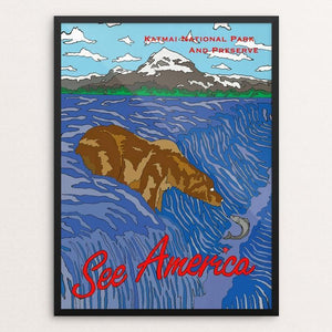 "Katmai National Park and Preserve by Joshua Sierra 12"" by 16"" Print / Framed Print See America"