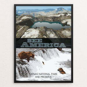 "Katmai National Park and Preserve by Leonardo Priego 12"" by 16"" Print / Framed Print See America"