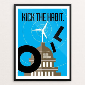 "Kick the Habit. by Luis Prado 18"" by 24"" Print / Framed Print Green New Deal"
