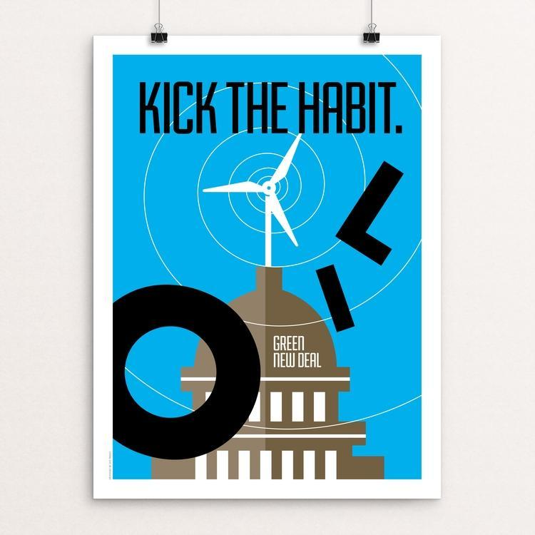 "Kick the Habit. by Luis Prado 18"" by 24"" Print / Unframed Print Green New Deal"