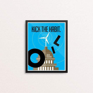 "Kick the Habit. by Luis Prado 8"" by 10"" Print / Framed Print Green New Deal"