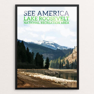 "Lake Roosevelt National Recreation Area by Samuel Cline 12"" by 16"" Print / Framed Print See America"