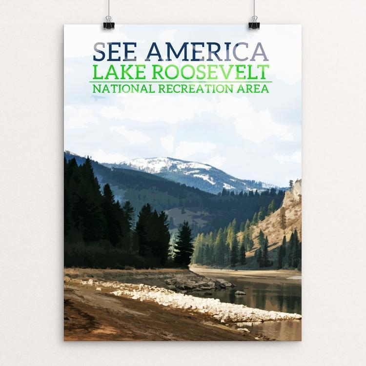 "Lake Roosevelt National Recreation Area by Samuel Cline 12"" by 16"" Print / Unframed Print See America"