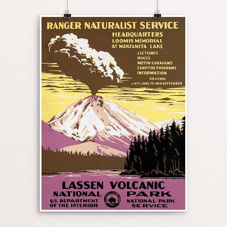 "Lassen Volcanic National Park, Ranger Naturalist Service 12"" by 16"" Print / Unframed Print WPA Federal Art Project"