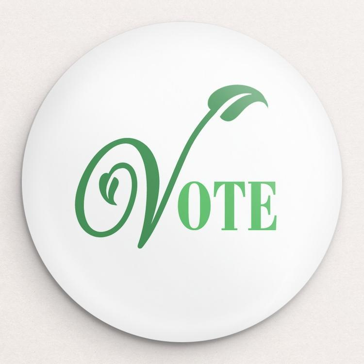 Leafy Green Vote Button by Lisa Vollrath Single Buttons Vote!