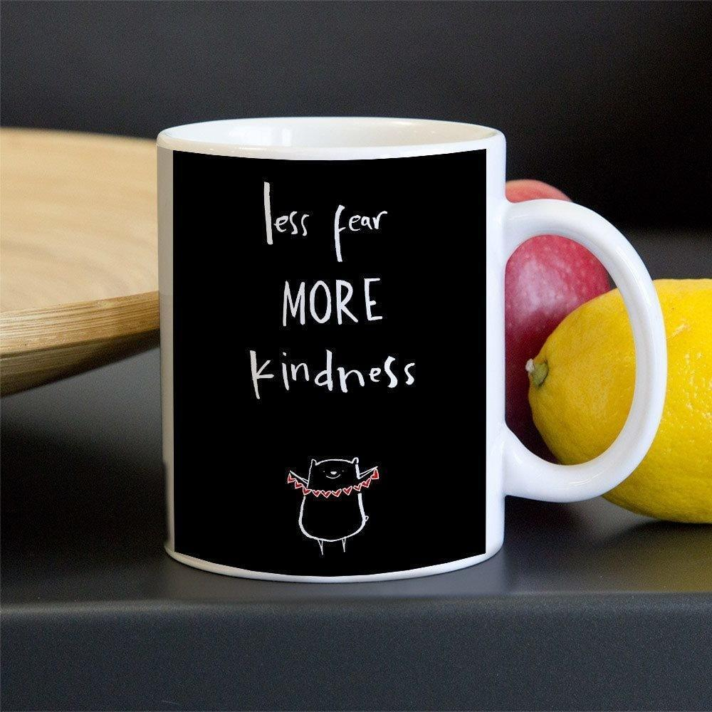 Less Fear More Kindness Mug by Juana Medina 11oz Mug The Gun Show