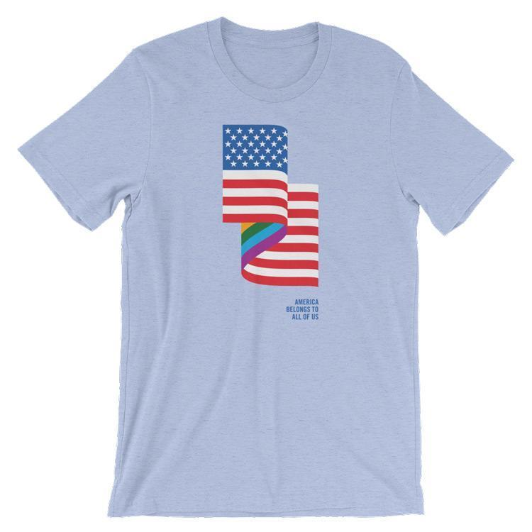 LGBT American Flag Men's T-Shirt by Jackie Lay S / Heather Blue T-Shirt Creative Action Network