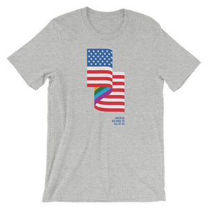 LGBT American Flag Men's T-Shirt by Jackie Lay S / Heather Grey T-Shirt Creative Action Network