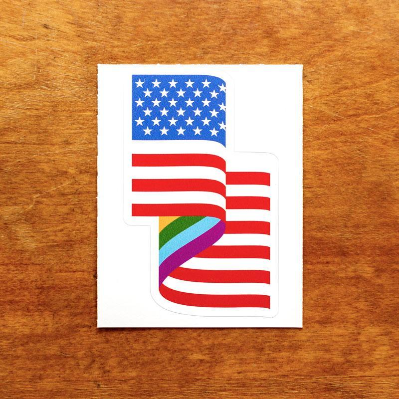 LGBT American Flag Sticker by Jackie Lay