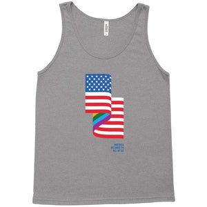 LGBT American Flag Tank Top by Jackie Lay Grey Triblend / Extra Small (XS) Tank Top Creative Action Network