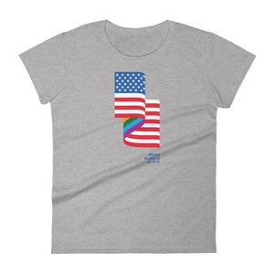 LGBT American Flag Women's T-Shirt by Jackie Lay S / Heather Grey T-Shirt Creative Action Network