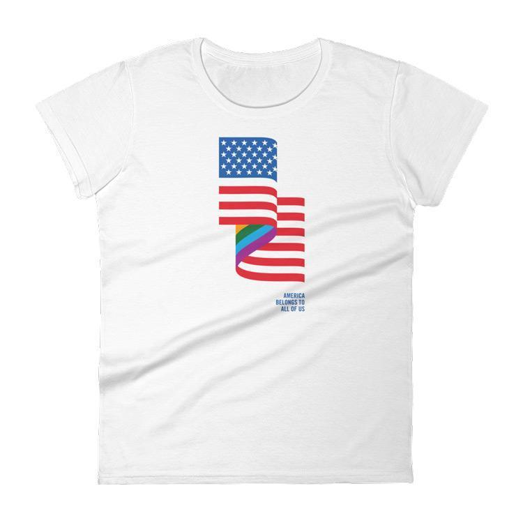 LGBT American Flag Women's T-Shirt by Jackie Lay