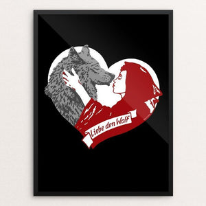 "Liebe den Wolf (Love the Wolf) by Brixton Doyle 18"" by 24"" Print / Framed Print Join the Pack"