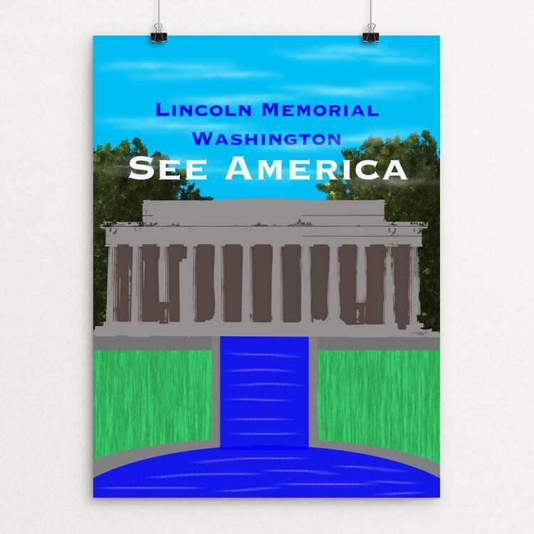 "Lincoln Memorial by David Moon 12"" by 16"" Print / Unframed Print See America"