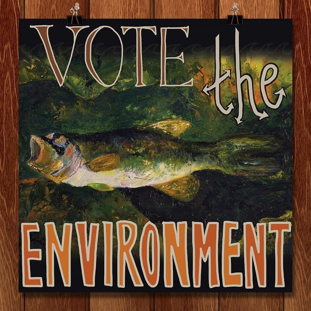 "Listen to the Fish. Vote the Environment! by Marissa Bunting 12"" by 12"" Print / Unframed Print Vote the Environment"