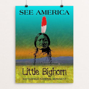 "Little Bighorn Battlefield National Monument by Bee Joy 12"" by 16"" Print / Unframed Print See America"