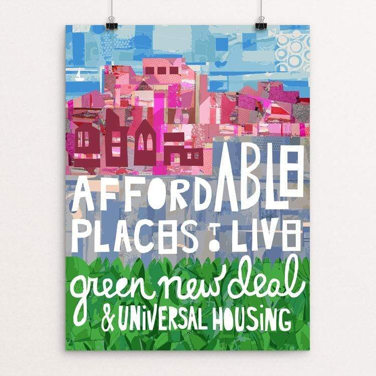 "Little Pink Houses by Holly Savas 18"" by 24"" Print / Unframed Print Green New Deal"
