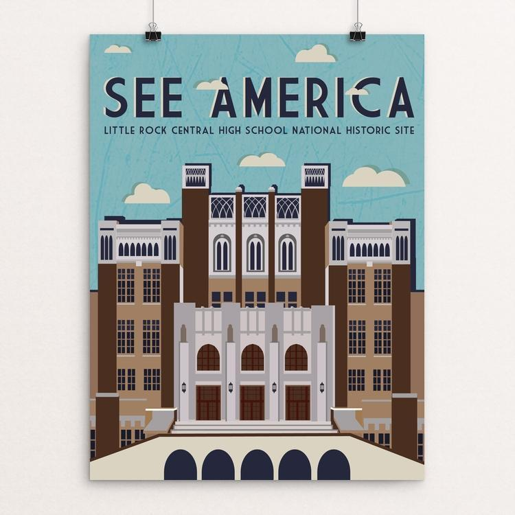 "Little Rock Central High School National Historic Site by Vanessa Rosales 18"" by 24"" Print / Unframed Print See America"