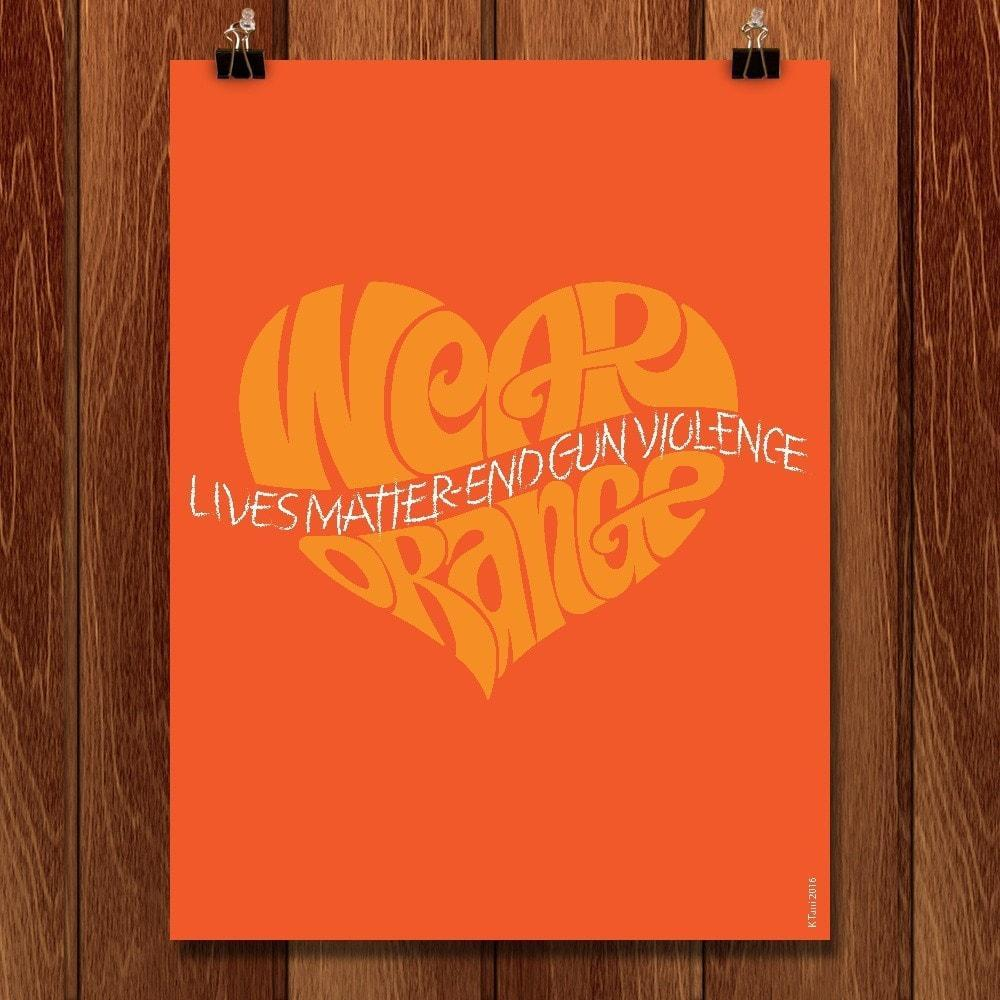 "Lives Matter by Karl Tani 12"" by 16"" Print / Unframed Print Wear Orange"