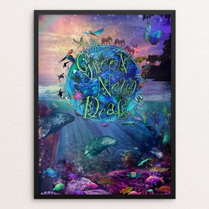"Living Planet 4 all by Alixandra Mullins 18"" by 24"" Print / Framed Print Green New Deal"