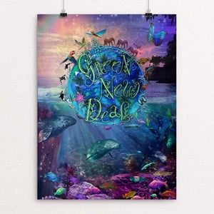 "Living Planet 4 all by Alixandra Mullins 18"" by 24"" Print / Unframed Print Green New Deal"