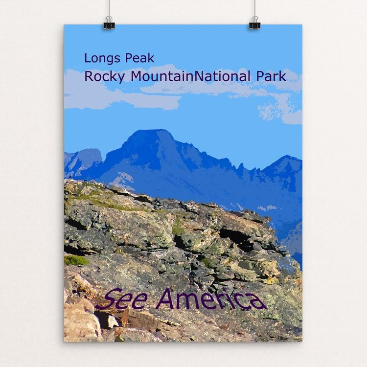 "Longs Peak, Rocky Mountain National Park by Rodney Buxton 12"" by 16"" Print / Unframed Print See America"