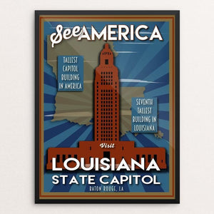 "Louisiana State Capitol by Robin Rials Williams 12"" by 16"" Print / Framed Print See America"