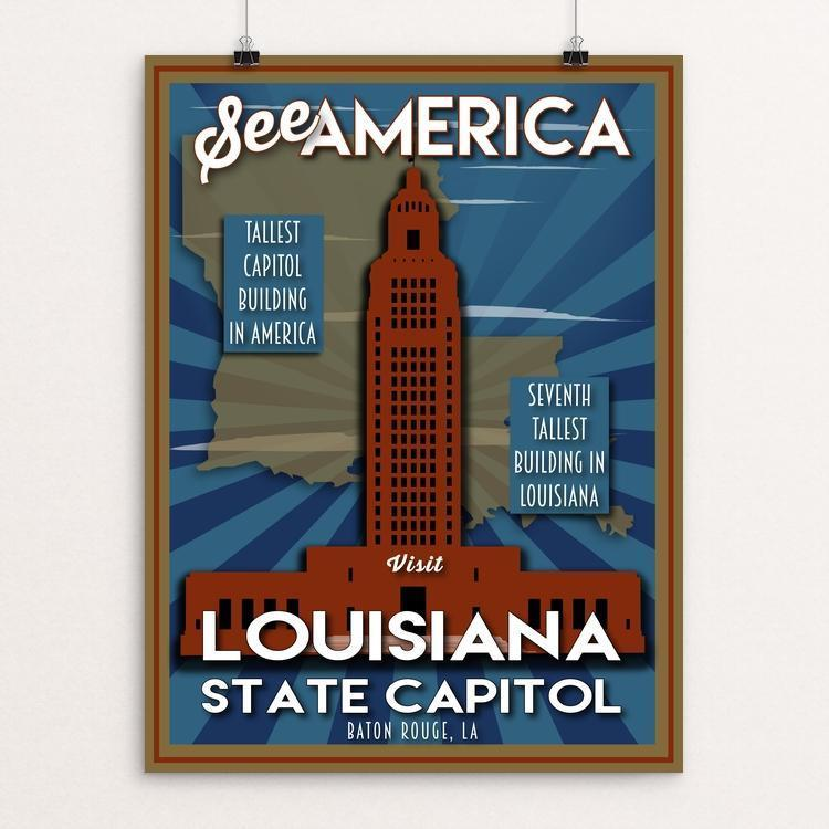 "Louisiana State Capitol by Robin Rials Williams 12"" by 16"" Print / Unframed Print See America"