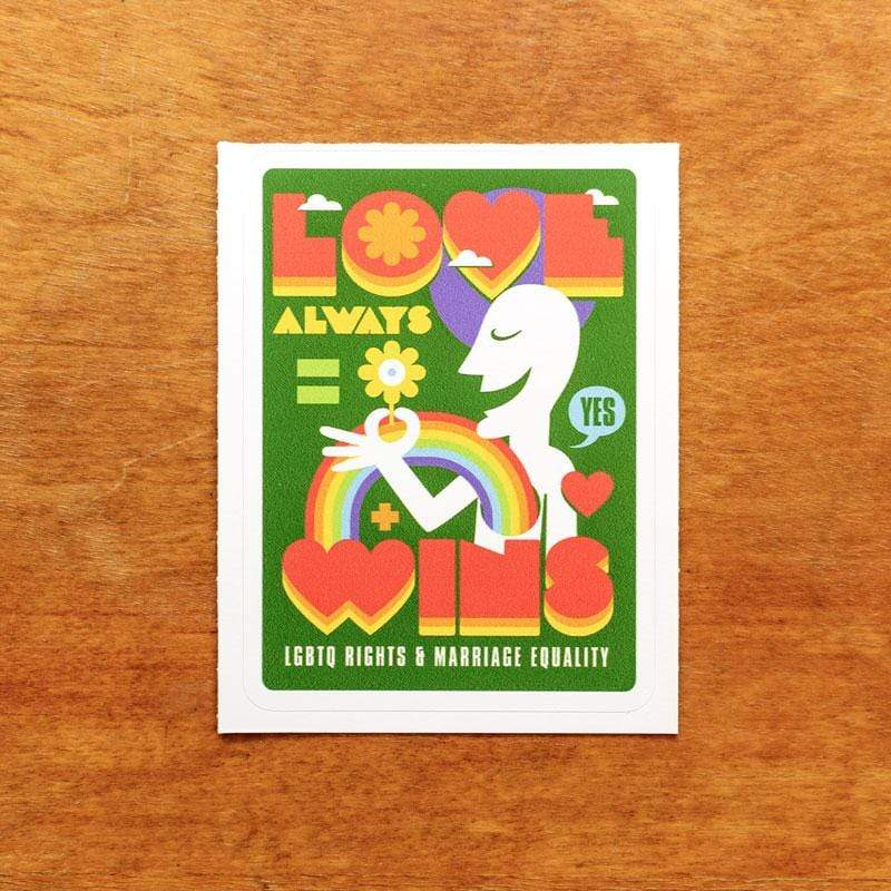 Love Always Wins Sticker by Roberlan Paresqui 3x4 inch / 1 Pack Stickers Creative Action Network