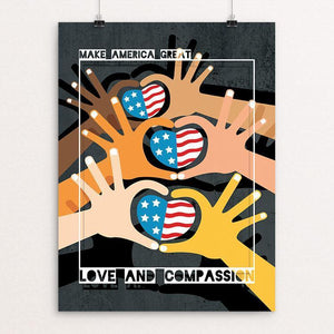 "Love and Compassion by Vikram Nongmaithem 12"" by 16"" Print / Unframed Print What Makes America Great"