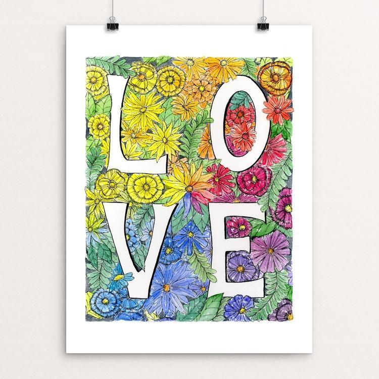 "Love by J Clement Wall 12"" by 16"" Print / Unframed Print Creative Action Network"