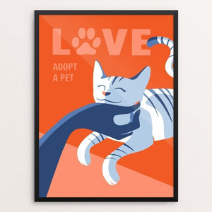 "Love Is Adopting a Pet by Janie Kliever 12"" by 16"" Print / Framed Print Creative Action Network"